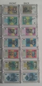 Set of 7 x Australian Old Note 1 oz Ingots 999 Silver Plated/Colour Printed