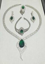 STERLING SILVER 925 SIMULATED EMERALD & CZ SET OF 4 COMPLETE WEDDING JEWELRY SET