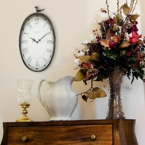 Wall Clock Analog Oval Bird Theme Indoor Espresso Finish with Attached Keyhole