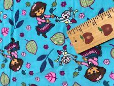 "Dora Exploring Fall Toss Blue Corduroy Fabric Boots Leaves Dancing 1 Yard 44"" W"
