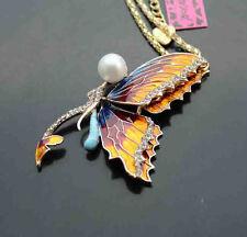 H631   Betsey Johnson Crystal Enamel Cute Butterfly Pendant Necklace