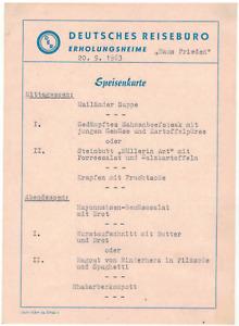 alte Speisekarte DDR Deutsches Reisebüro 1963 Erholungsheim Haus Frieden