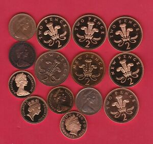 14 PROOF ONE & TWO PENNY COINS DATED 1971 TO 2014 IN MORE OR LESS MINT CONDITION