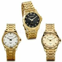 Luxury Men Stainless Steel Gold Tone Quartz Analog Waterproof Sports Wrist Watch