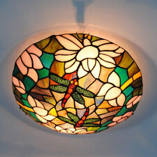 Vintage Stained Glass Ceiling Lights Tiffany Style Dragonfly Hanging Lamps New