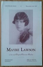 Mayre Lawson in Original Character Sketches programme Grotrian Hall 3rd Nov 1937