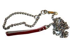 Metal Chain Leash Choke Chain Collar Training For Walking leather Handle