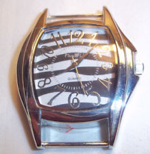 BLACK & WHITE Solid Bar Watch Face with ZEBRA Stripes on Face of Watch J-82