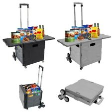 Foldable Utility Cart Folding Portable Rolling Crate Handcart With Cover Board