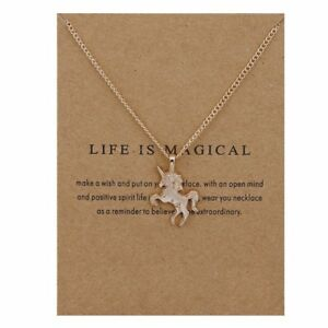 Childrens kids girls Jewellery Silver / Gold UNICORN Necklace Pendant gift card