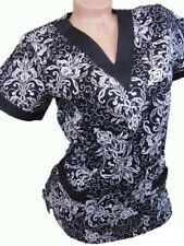 New Women Nursing Scrub Black White Floral Cotton Top Size XS