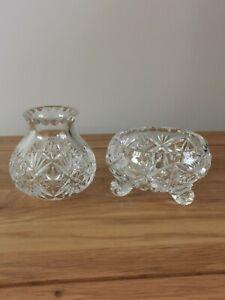 Edinburgh Crystal small vase and bowl on 3 legs clear cut glass