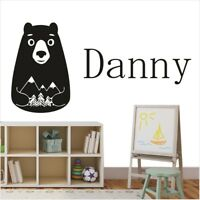 Bear Wall Stickers Boys Bedroom Personalised Girls Name Art Decals Removable