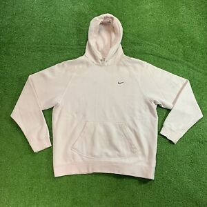 Y2K Nike Gray Tag Mini Swoosh Embroidered Hoodie Adult L in Pink