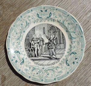 Antique Plate Talking digoin & Sarreguemines N°3 Jeanne D'Arc VA Find