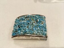 Vintage Silver Faux Turquoise Belt Buckle Hand Crafted