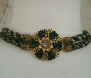 Vintage Miriam Haskell Glass Necklace Choker