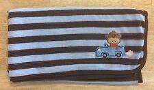 Carters Monkey Brown Blue Baby Blanket Striped Car Fleece Security Lovey