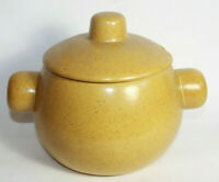 Willsgrove Ware Pottery Rhodesia Yellow Speckled Round Lidded Pot Bean Dish MCM