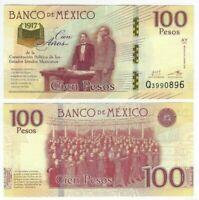 MEXICO 100 Pesos Comm. (2017) P-130 AY Series Q Prefix UNC Banknote Paper Money