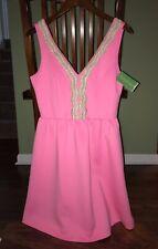 Lilly Pulitzer Sunset PINK ROREY DRESS Fit Flare Gold Trim Pockets MEDIUM - NWT