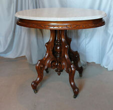 Victorian Walnut Oval Shaped Marble Top Parlor Table