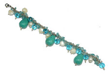 Designer Turquoise Drop & Pearl Beads Sterling Silver Plated Bracelet EB19