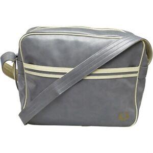 BNWT Men's Fred Perry Messenger Bag Classic Flight Bag Vintage Grey City Retro