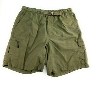 Columbia Men's Elastic Waist Belt Nylon Green Outdoor Hiking Cargo Shorts XL