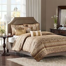 King Bedding Bedspread Set Quilted Gold Bedroom Decor Pillows Fancy Decorating