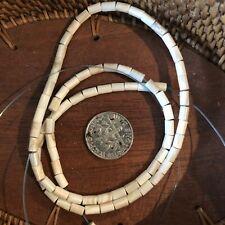 5x3mm White Wampum Beads Quahog Tube Strand.