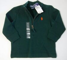 POLO Ralph Lauren Boys Dark Green Pullover Zip Neck Sweater Orange Pony Sz 2/2T