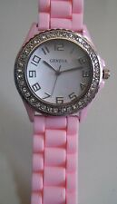 Fashion Pink Jelly Silicone Rhinestone Girls Ladies Womens Quartz Wrist Watch