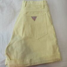 women's Vintage GUESS jean shorts size 29 yellow  80's 90's Triangle logo EUC