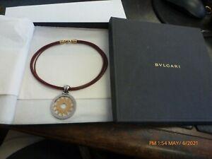 BVLGARI Tondo Sun Necklace Pendant 750YG Yellow Gold Stainless Steel Rare W/Box
