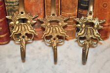 One Antique French Brass Large Double Coat Hat Hook Cherubs Crown 2 Available