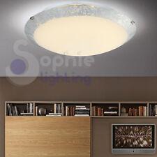 Plafoniera 30cm tonda LED 12W design moderno vetro foglia argento bagno cucina