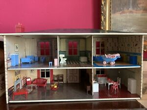 Vintage Mettoy Doll House + Furniture
