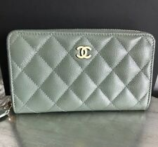 b5b305649a4f NWT CHANEL 18C Iridescent Light Green Caviar Small Medium Zip Wallet 2018  Pearly