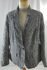 New Lane Bryant Blazer Black White Lined Long Sleeves Cotton Spandex Size 16