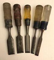 Stanley Wood Chisels - 5pc lot - No. 60 #60 mixed woodworking woodshop vintage