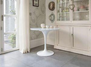 90cm Circular - White Laminate Tulip Table - designed by Eero Saarinen