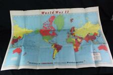 Vintage 1940s Rand McNally World War II WWII Map w/Carstairs Whiskey Advertising