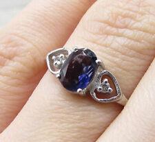 Zirconia Love Ring Sz 6.5 - Rg1355 925 Silver over Brass - Tanzanite & Cubic
