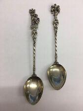 "Vintage Ornate Solid ""800"" Silver X2 Tea Spoons"