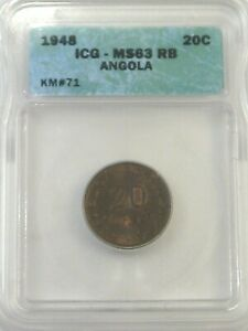 BU 1948 20 Centavos ANGOLA ICG MS63RB KM#71. #42