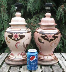 Pair Floral Ginger Jar Crackle Glaze Porcelain Table/Bedside Lamp Bases Signed