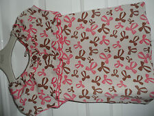 Matalan cream blouse with brown & pink bow print age 6-7 unworn