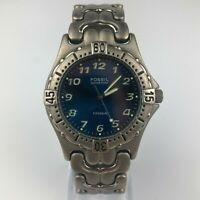 Fossil Blue Mens 100 Meters Solid Titanium TI-5003 Watch Silver Tone
