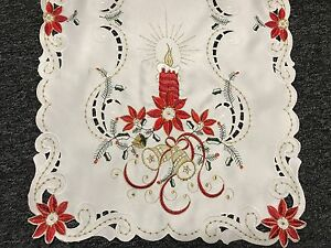 Christmas Lace Embroidered Red Candle Pointsettia Table Placemat Runner Party